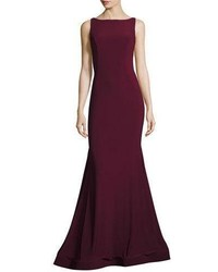 Jovani Backless Stretch Crepe Mermaid Gown Burgundy