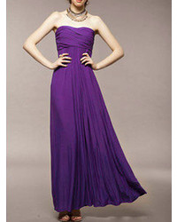 Choies Strapless Ruched Maxi Dress In Purple