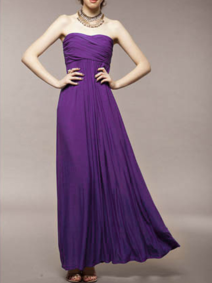 81eff0913854 Choies Strapless Ruched Maxi Dress In Purple