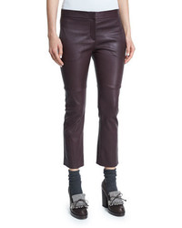 Brunello Cucinelli Leather Cropped Flare Pants Burgundy