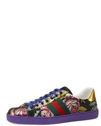 Gucci New Ace Floral Jacquard Low Top Sneaker