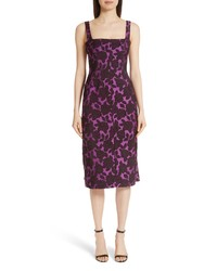 Lela Rose Floral Matelasse Watteau Back Dress
