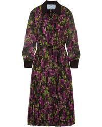 Prada Pleated Floral Print Silk Crepon Midi Dress