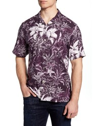 Tommy Bahama Elegant Sketch Classic Fit Short Sleeve Button Up Silk Shirt