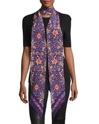 Roberto Cavalli Long Skinny Floral Silk Scarf Purple