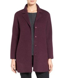Eileen Fisher Brushed Wool Blend Double Face Coat