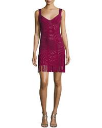 Herve Leger Sleeveless Grommet Fringe Skirt Bandage Dress Dark Marooncombo