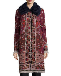 Tory Burch Tapestry Coat W Fur Collar