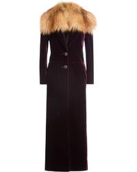 Roberto Cavalli Velvet Coat With Fox Fur Collar