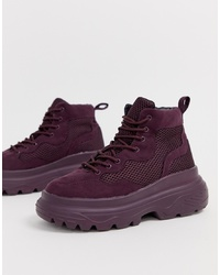 Missguided Hiker Trainer With Chunky Sole In Purple