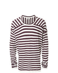 Dark Purple Horizontal Striped Crew-neck Sweater
