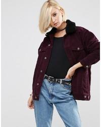 Asos Cord Girlfriend Jacket In Oxblood With Detachable Fleece Collar