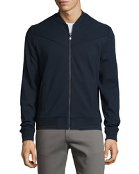 Original Penguin Paneled Knit Bomber Jacket Dark Sapphire