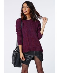 Missguided eulalia cable knit jumper purple medium 156987