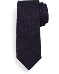 Textured tonal check silk knit tie dark purple medium 464890