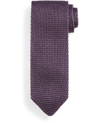 Tom Ford Thin Striped Knit Tie Purple