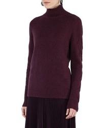 Cable trim knit turtleneck sweater medium 4424621