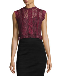Romeo & Juliet Couture Sheer Lace Paneled Crop Top Burgundy