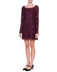 Dolce & Gabbana Long Sleeve Lace Shift Dress Dark Aubergine