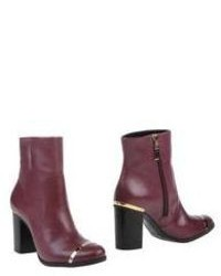 Dark Purple Leather Ankle Boots