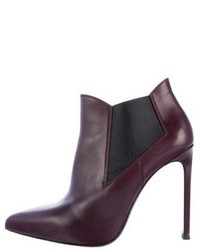 Saint Laurent Pointed Toe Leather Ankle Boots