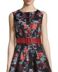 Wide napa leather belt dark red medium 3745938