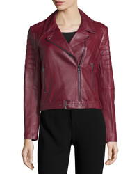 Asymmetric zip front leather moto jacket bordeaux medium 526264