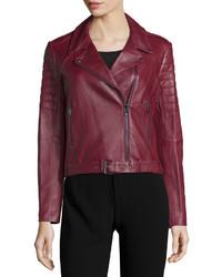 Haute Hippie Asymmetric Zip Front Leather Moto Jacket Bordeaux