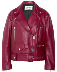Merlyn oversized leather biker jacket burgundy medium 3723767