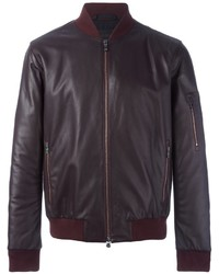 Dark Purple Leather Bomber Jacket