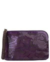 Nada Sawaya Olivia Laser Cut Patent Leather Zip Around Pouch Mini Ipad Holder Purple