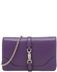 Gucci Pre Owned Grape Leather Broadway Convertible Clutch