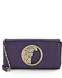 Versace Logo Hardware Leather Convertible Clutch
