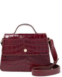 Elizabeth and James Eloise Mini Suede Trimmed Croc Effect Leather Shoulder Bag Burgundy