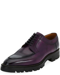 Bally Scuber Lug Sole Leather Derby Shoe Purple