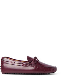 Dark Purple Leather Driving Shoes