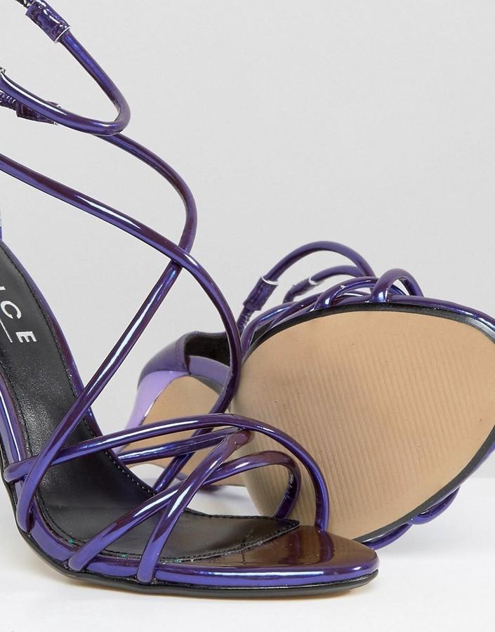 c9e16cbebeb Spindle Purple Mirror Strappy Heeled Sandals