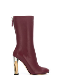 Alexander McQueen Metallic Heel Mid Calf Boots