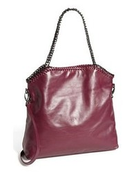 Dark Purple Leather Tote Bag