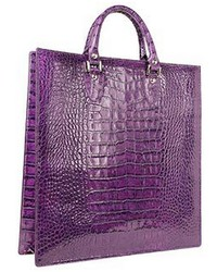 L.a.p.a. Violet Croco Large Tote Leather Handbag Wpouch