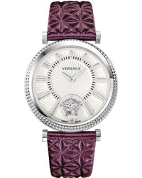 Versace 38mm V Helix Clous De Paris Watch W Leather Strap Silverviolet
