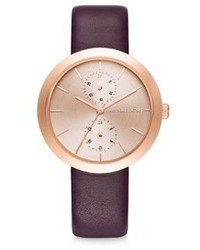 Michael Kors Michl Kors Garner Rose Goldtone Stainless Steel Leather Strap Watch