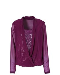 Bodyflirt plunge neck wrap blouse in purple size 16 medium 351146