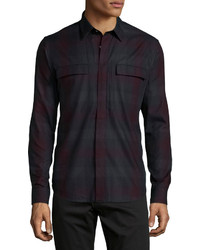 Theory Daimon Avenstroke Long Sleeve Sport Shirt Wine