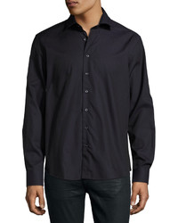 Neiman Marcus Textured Long Sleeve Sport Shirt Dark Purple