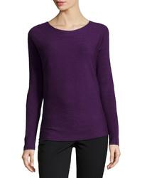 Neiman Marcus Long Sleeve Ribbed Tee Purple | Where to buy & how ...