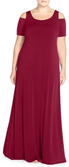 $168, Mynt 1792 Plus Size Cold Shoulder Maxi Dress