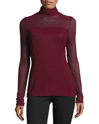 Patrizia Luca Long Sleeve Mesh Turtleneck Tee Burgundy