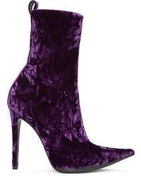 Haider Ackermann Purple Velvet Boots