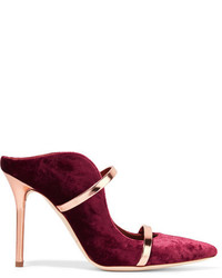 Malone Souliers Maureen Metallic Leather Trimmed Velvet Mules Plum